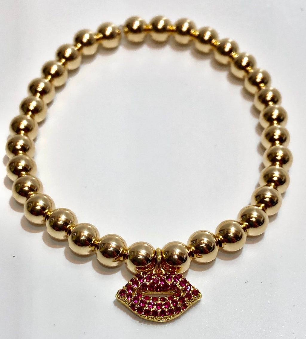 6mm 14k Gold Filled Bead Bracelet with Various Hanging Charm