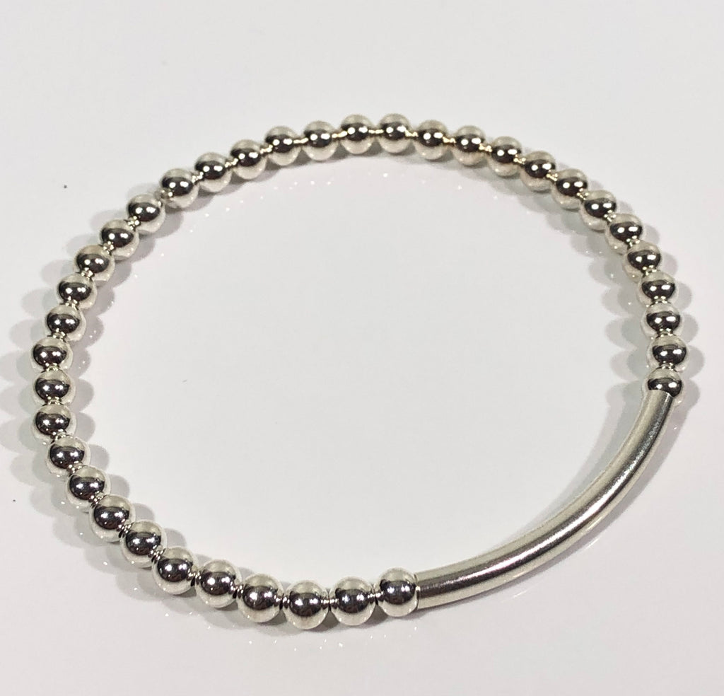 4mm Sterling Silver Bracelet with 4mm Bar