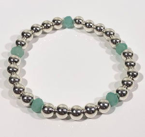 6mm Sterling Silver Bracelet with Green Opal Stones