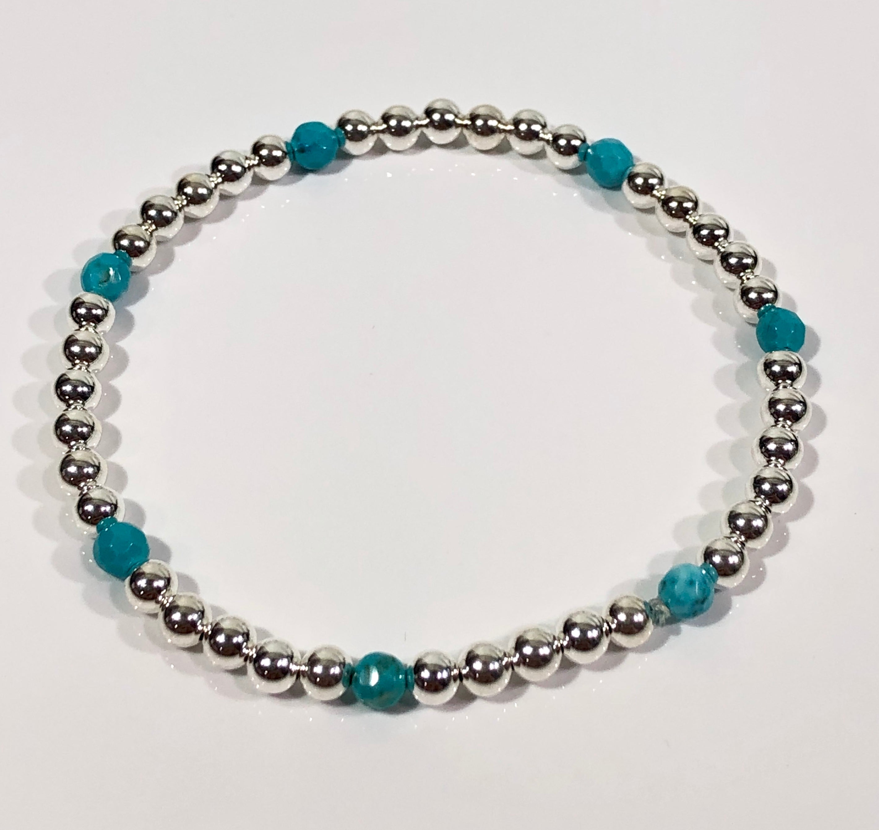 4mm Sterling Silver Bracelet with Turquoise Blue Beads