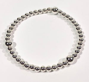 4mm Sterling Silver Bracelet with 3 6mm Beads