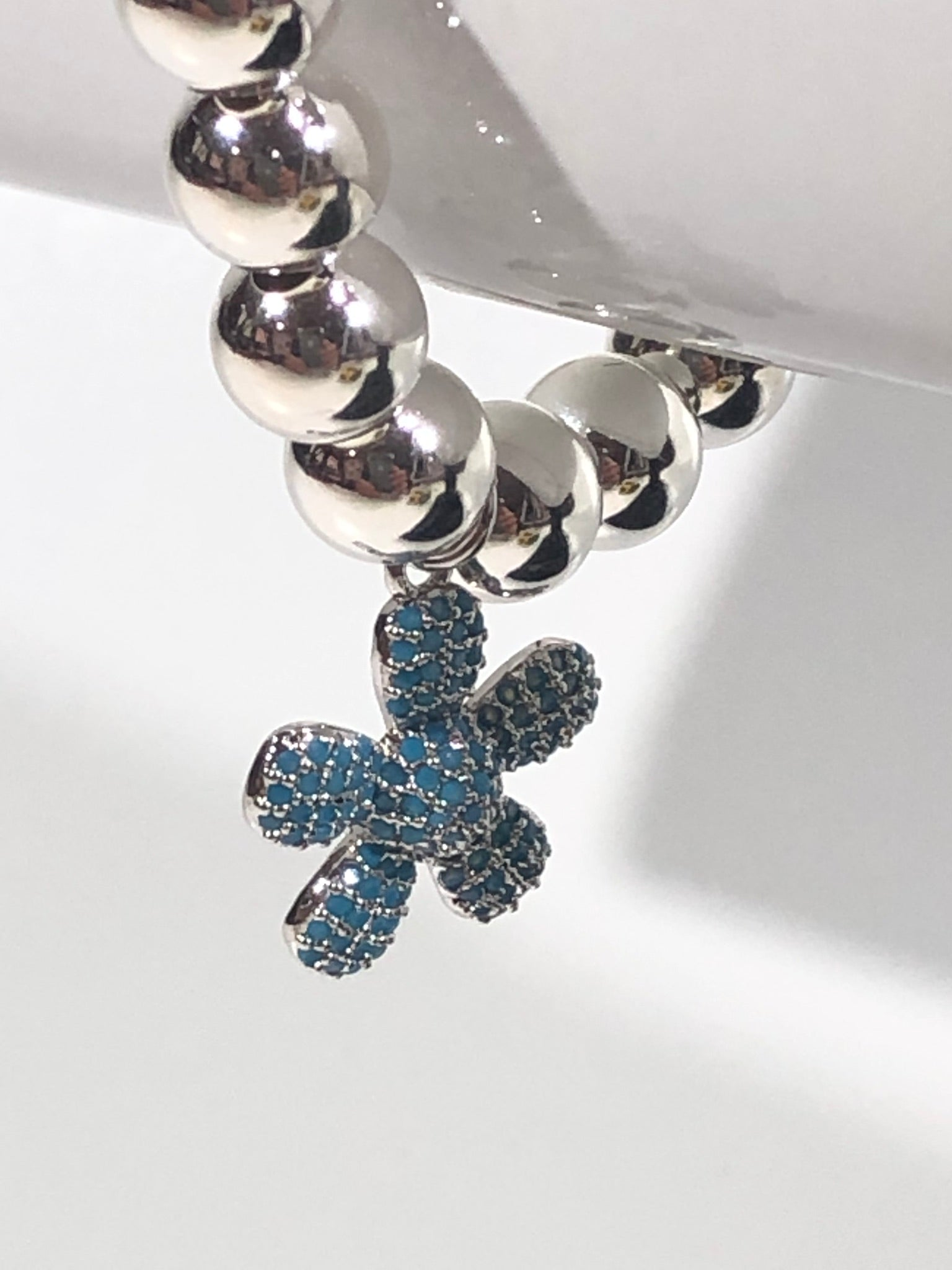 8mm Sterling Silver Bracelet with Blue Jeweled Flower Hanging Charm