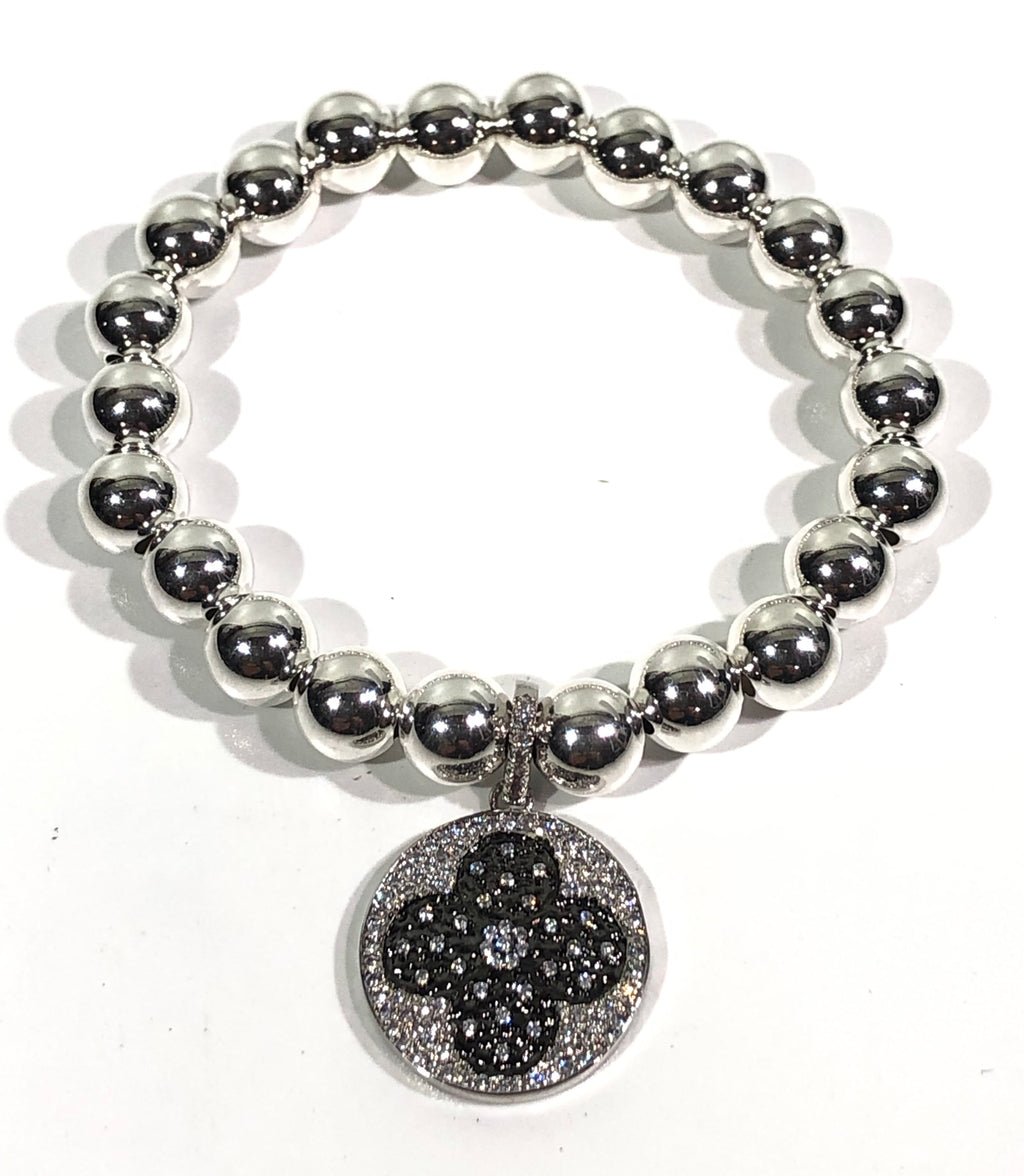 8mm Sterling Silver Bracelet with Black Jeweled Clover Charm