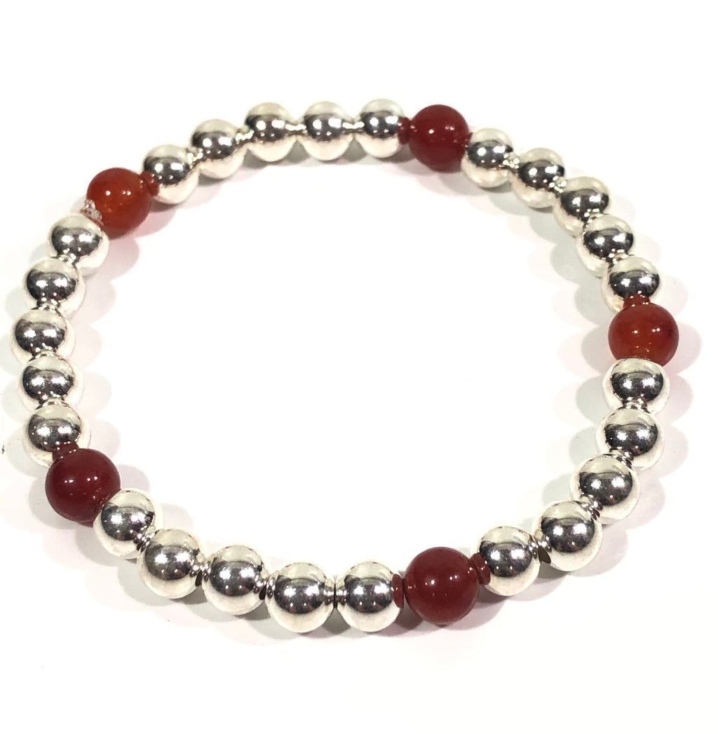 6mm Sterling Silver Bracelet with 5 Carnelian Beads