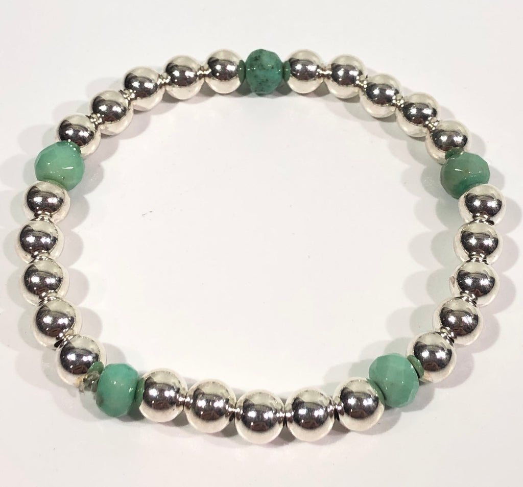 6mm Sterling Silver Bracelet with 6mm Jade Green Beads