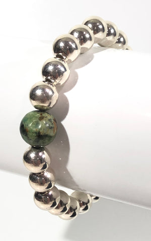 8mm Sterling Silver Bracelet with 10mm African Turquoise Bead