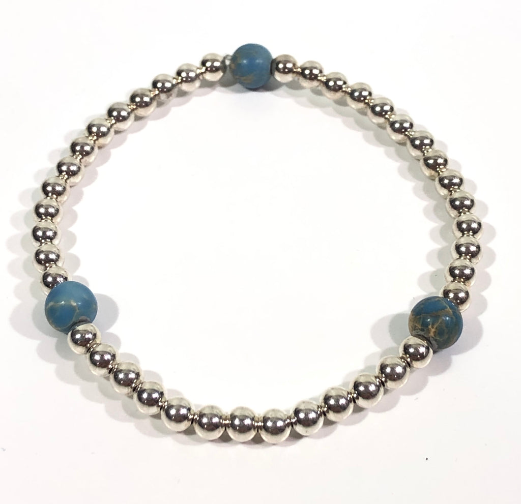4mm Sterling Silver Bracelet with Jasper Blue Beads