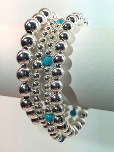 KENDALL 4 Piece Sterling Silver Bracelet Stack with Turquoise