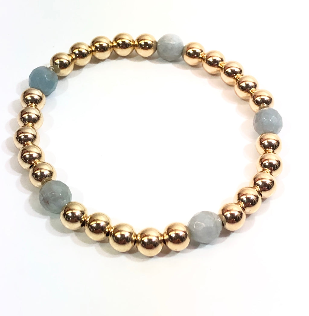 6mm 14kt Gold Filled Bead Bracelet with 5 Faceted 6mm Aquamarine Beads