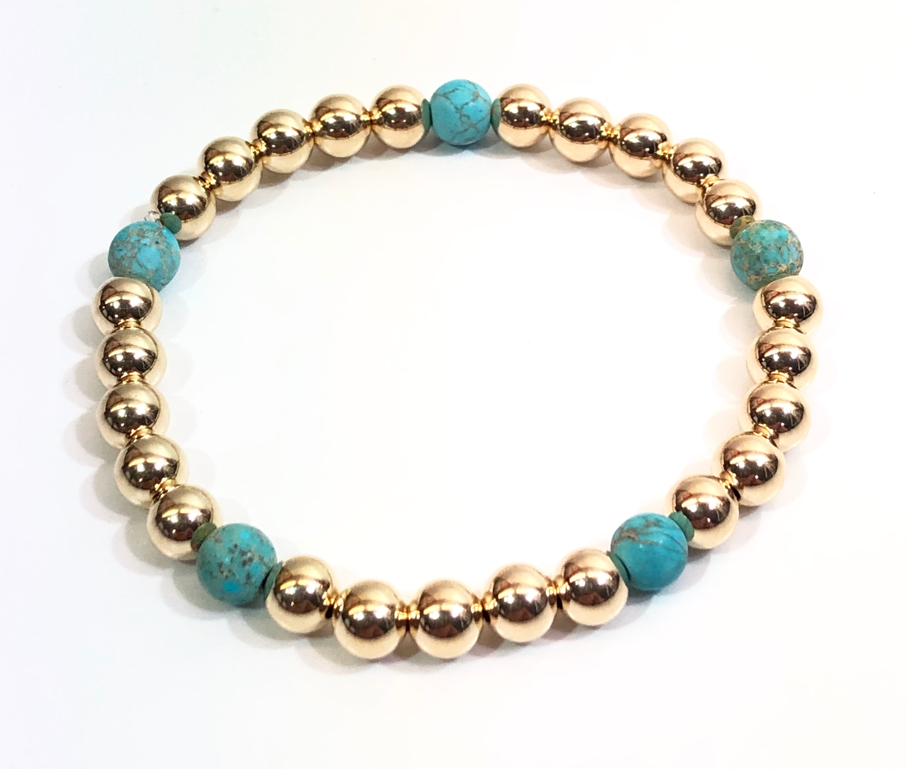 6mm14kt Gold Filled Bead Bracelet with 5 6mm Blue Jasper Beads