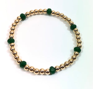 4mm 14kt Gold Filled Bead Bracelet with 7 4mm Emerald Beads