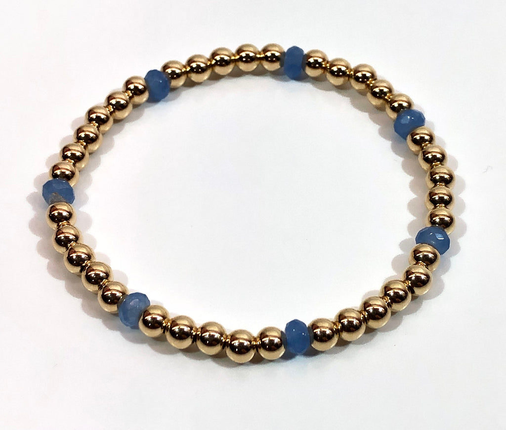 4mm 14kt Gold Filled Bead Bracelet with 4mm Blue Periwinkle Beads
