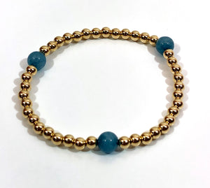 4mm 14kt Gold Filled Bead Bracelet with 3 6mm Light Blue Jade Beads