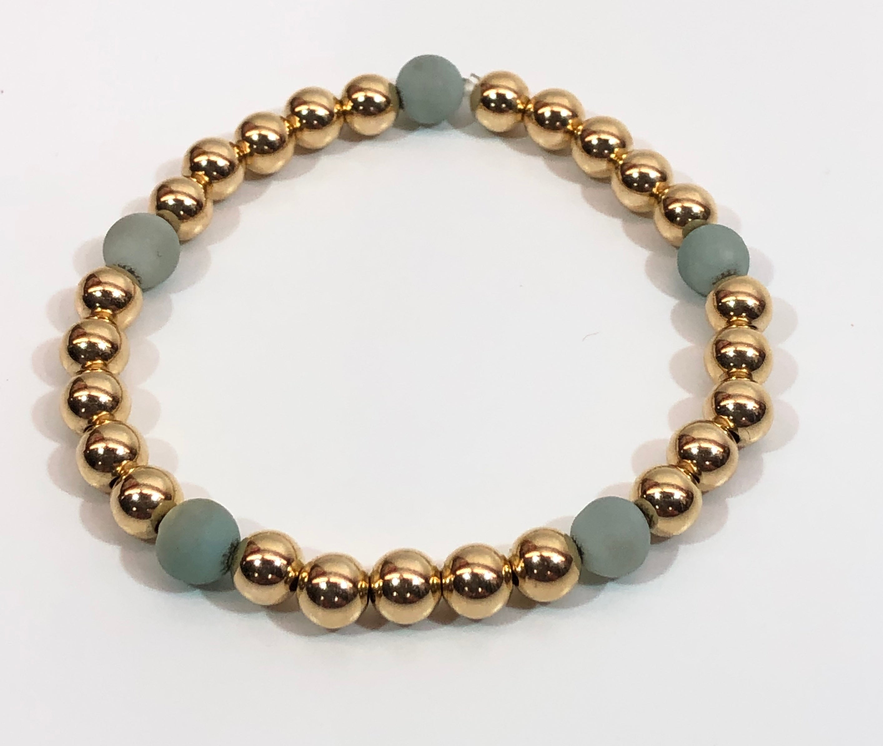 6mm 14kt Gold Filled Bead Bracelet with 5 Light Green Amazonite Beads