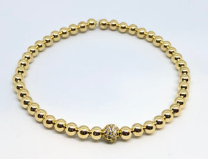 4mm Gold Bracelet with Gold Jeweled Disco Ball