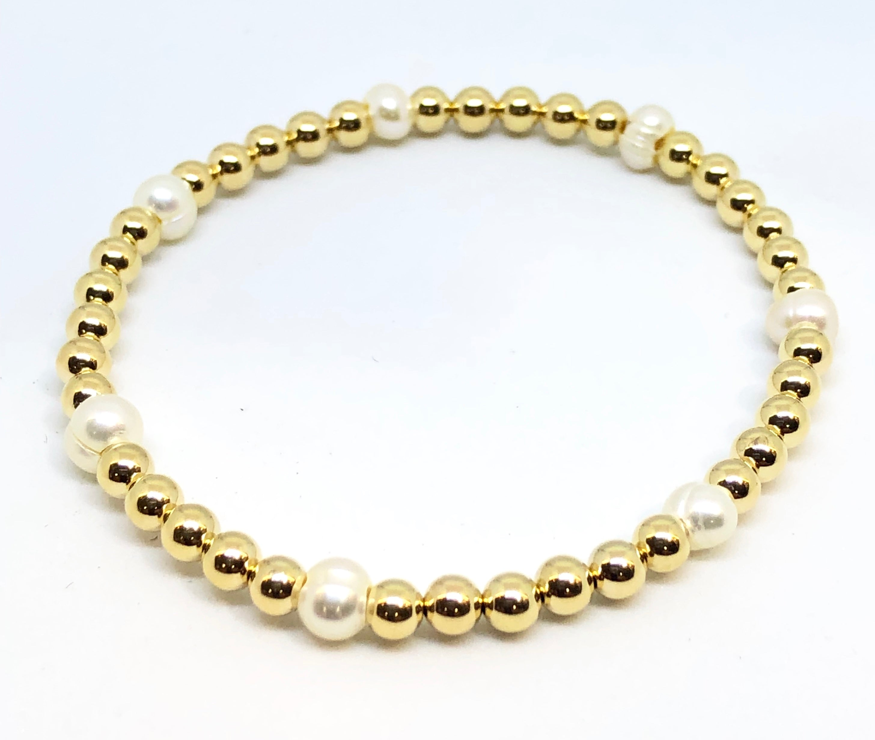 4mm 14kt Gold Filled Bead Bracelet with 7 4mm Fresh Water Pearls