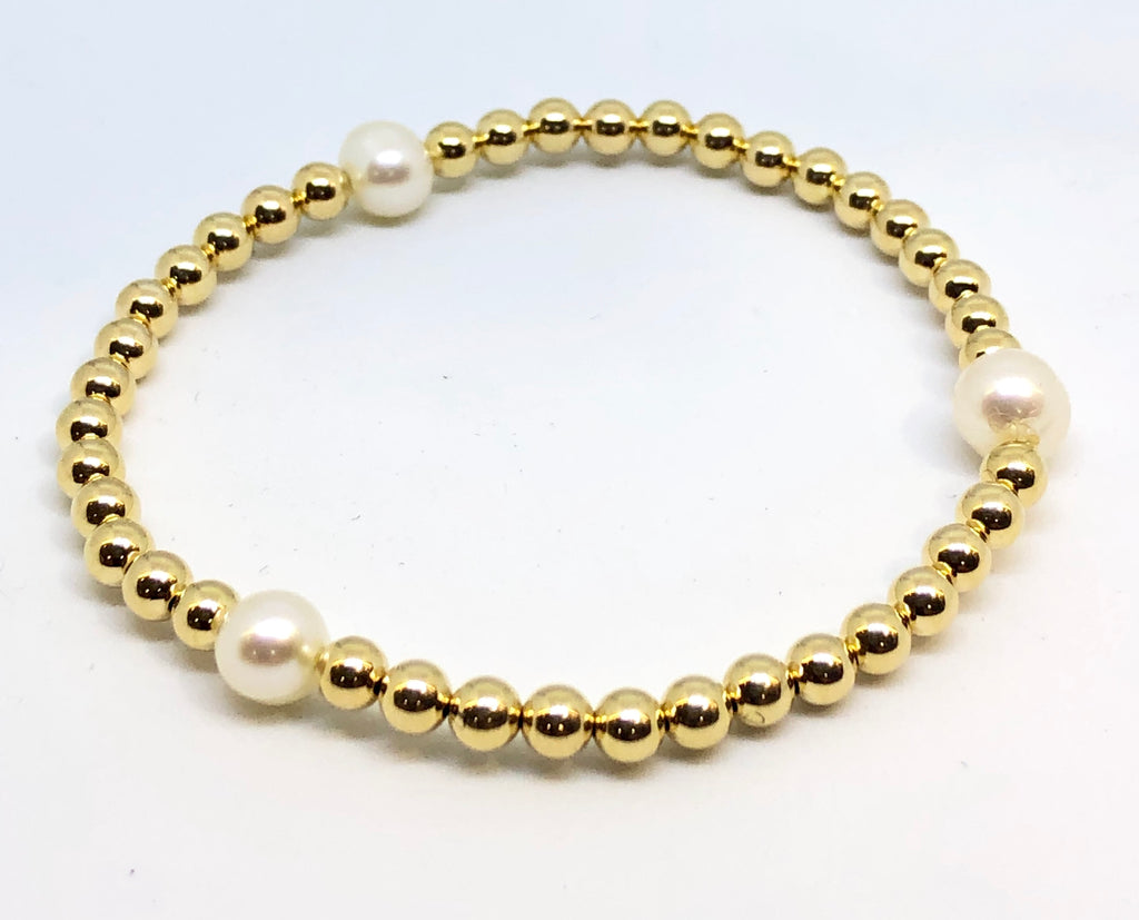4mm 14kt Gold Filled Bead Bracelet with 3 6mm Fresh Water Pearls
