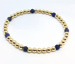 4mm 14kt Gold Filled Bead Bracelet with 7 4mm Blue Agate Beads