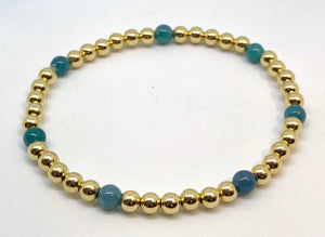 4mm 14kt Gold Filled Bead Bracelet with 7 4mm Green Teal Jade Beads