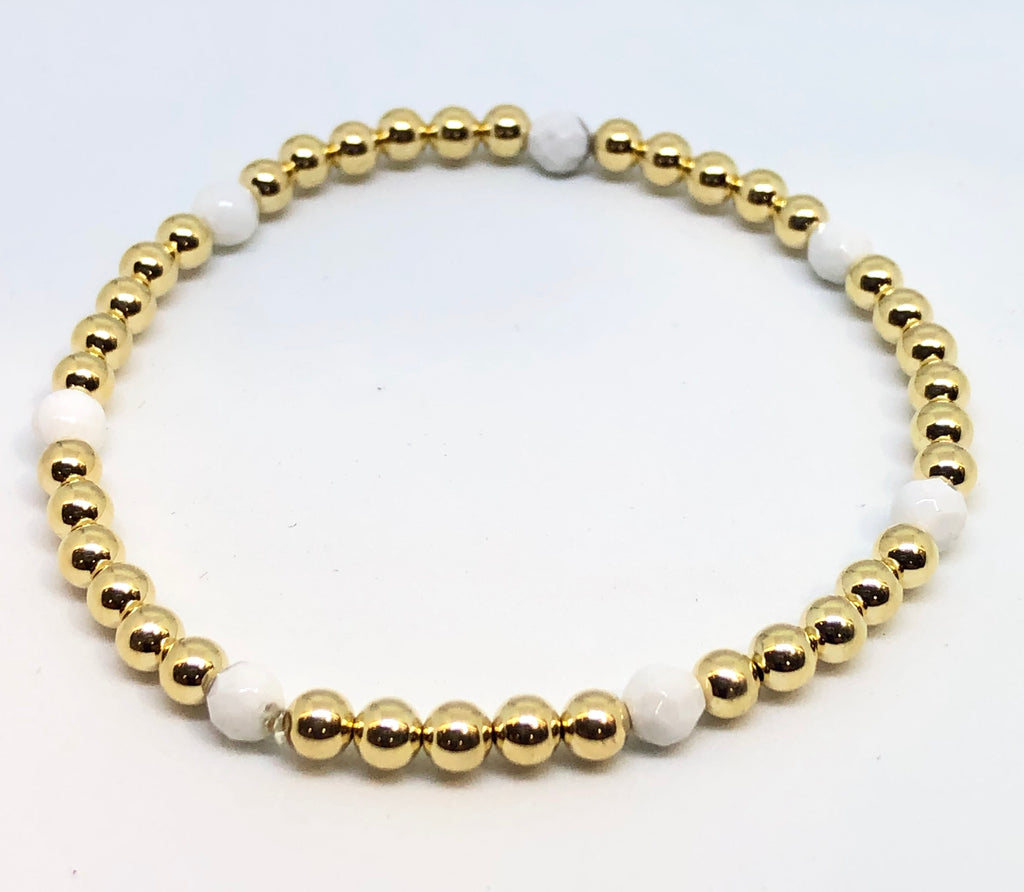 4mm 14kt Gold Filled Bead Bracelet with 7 4mm White Quartz Beads