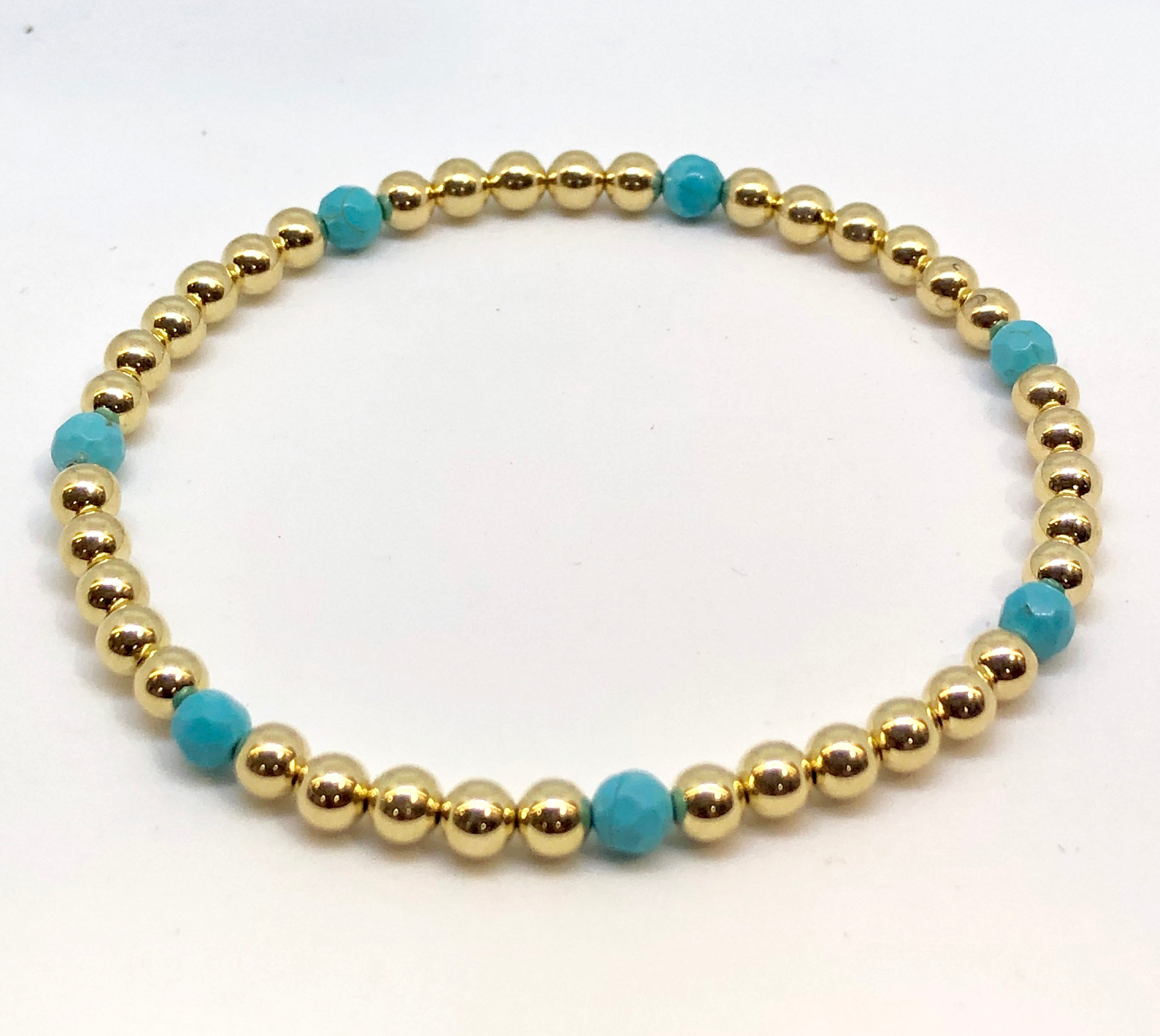 4mm 14kt Gold Filled Bead Bracelet with 7 4mm Turquoise Beads