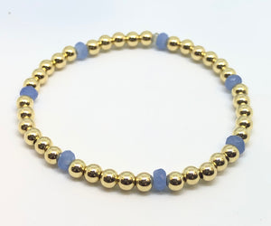 4mm 14kt Gold Filled Bead Bracelet with 4mm Light Blue Periwinkle Beads