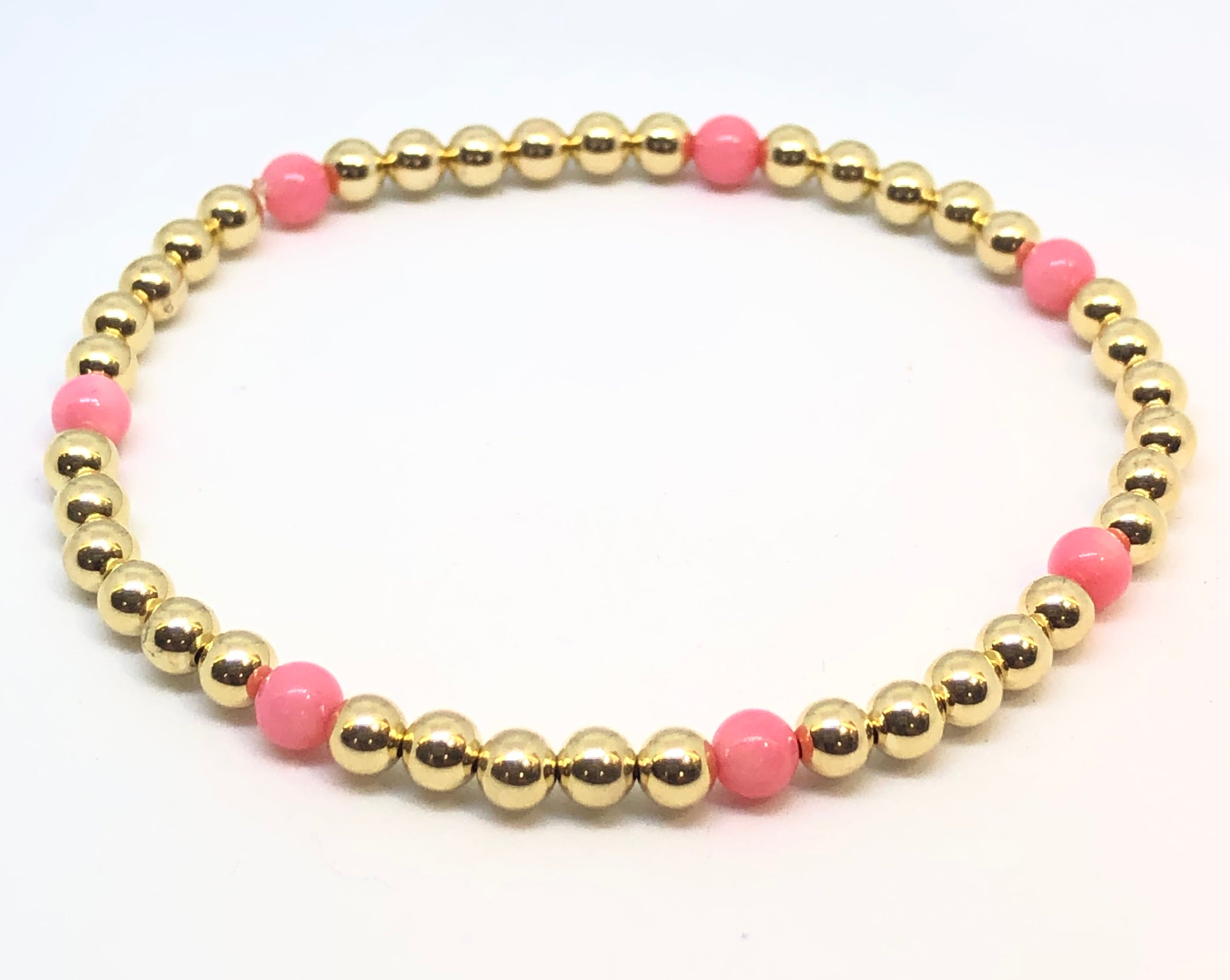 4mm 14kt Gold Filled Bead Bracelet with 7 4mm Pink Coral Beads