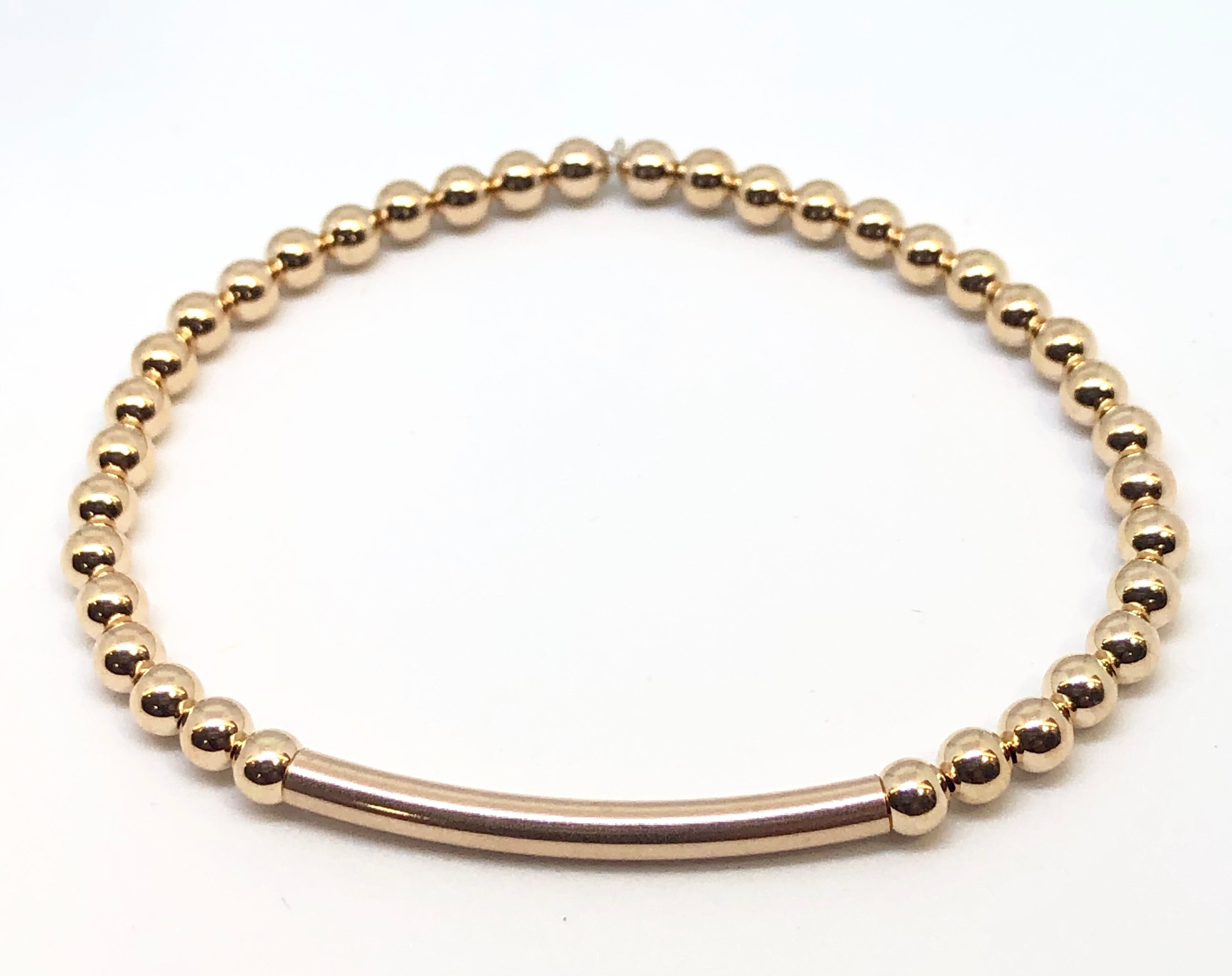 4mm Rose Gold Filled Bracelet with 4mm Rose Gold Bar