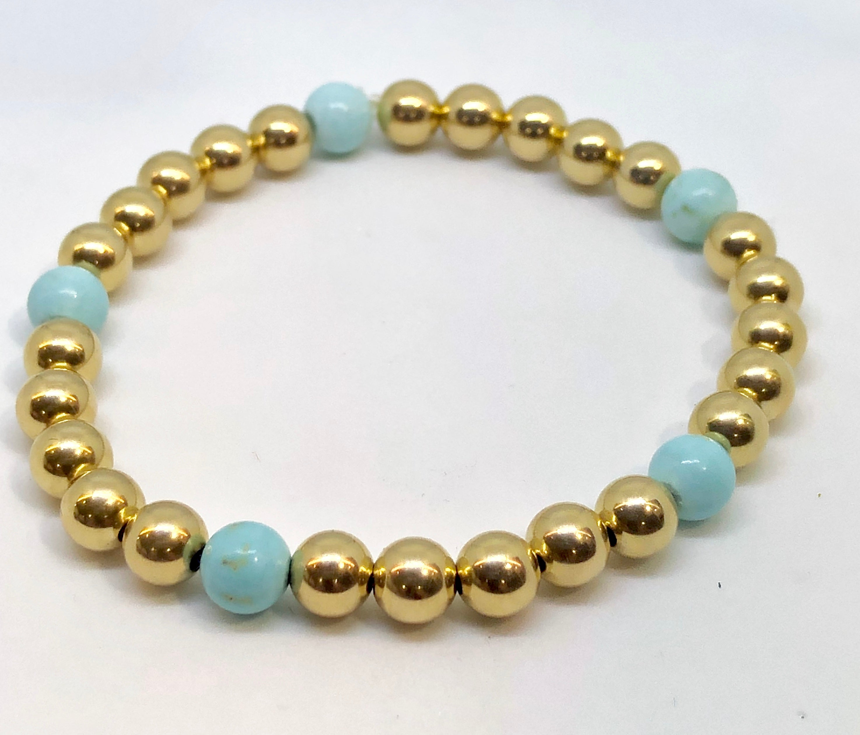 6mm 14kt Gold Filled Bead Bracelet with 5 6mm Round Light Turquoise Beads