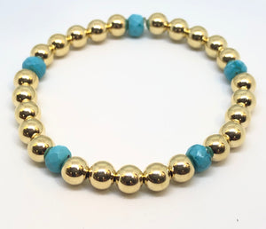 6mm 14kt Gold Filled Bead Bracelet with 5 6mm Oval Turquoise Beads