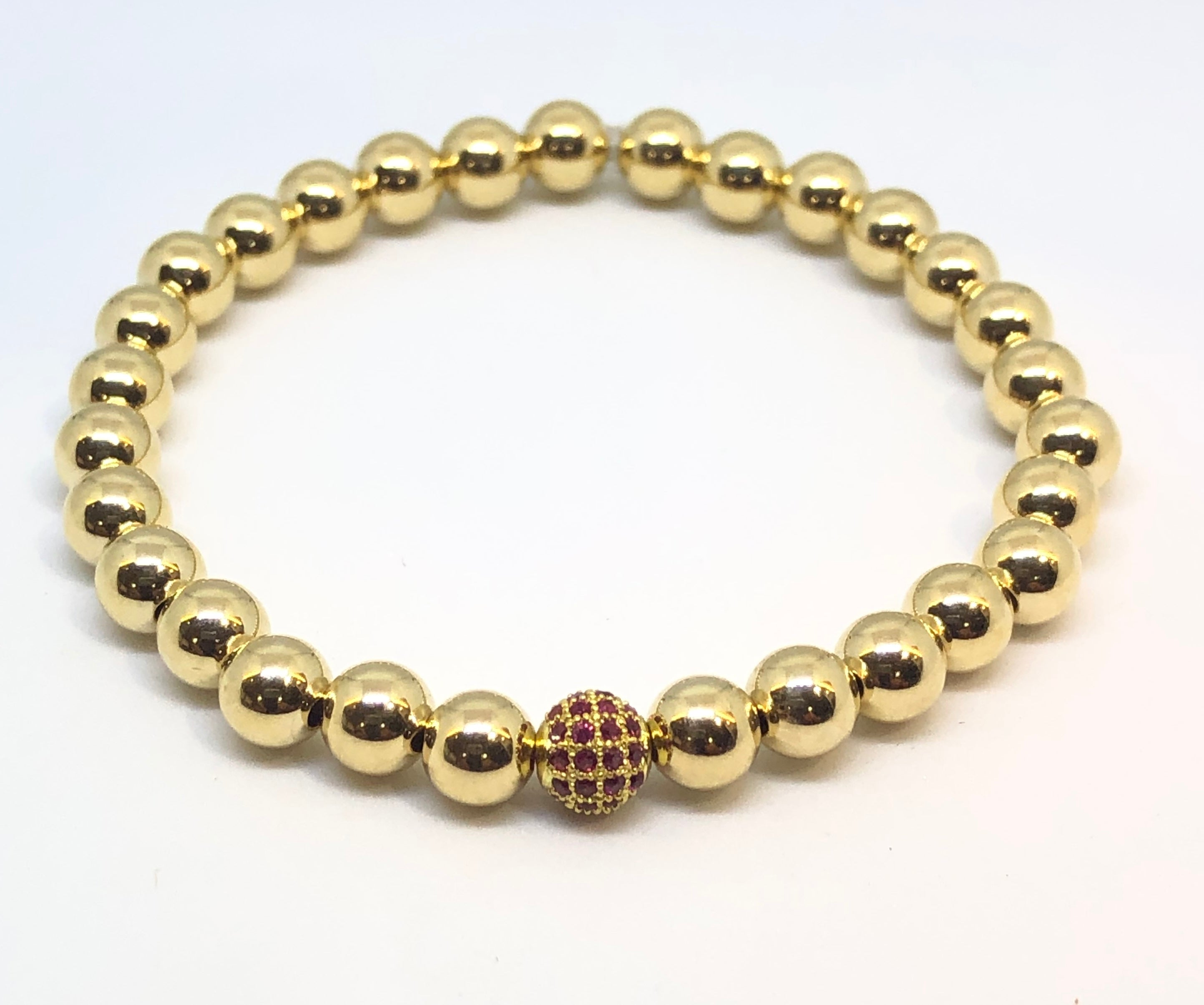 6mm 14kt Gold Filled Bead Bracelet with Jeweled Pink Disco Ball