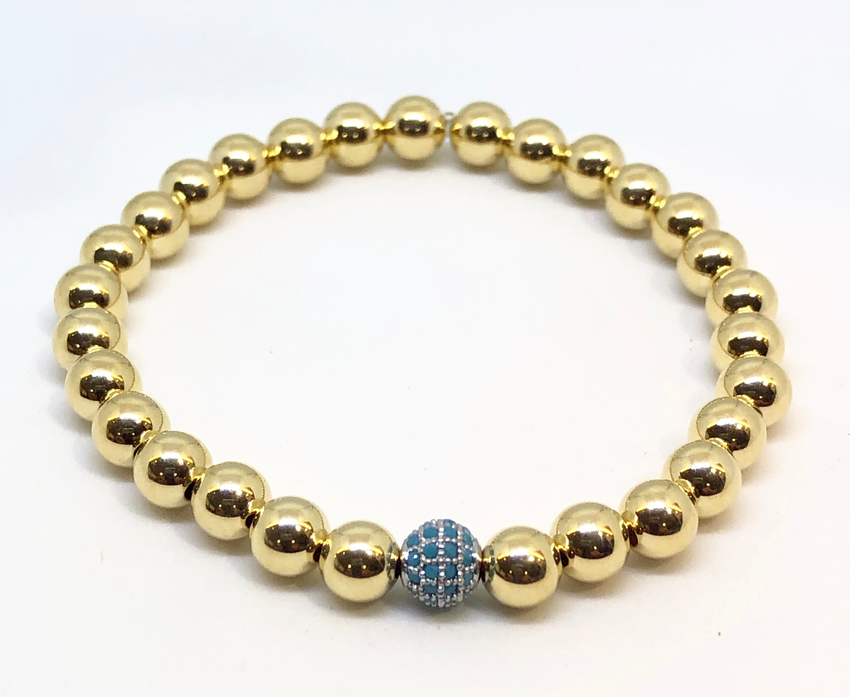 6mm 14kt Gold Filled Bead Bracelet with Jeweled Blue Disco Ball