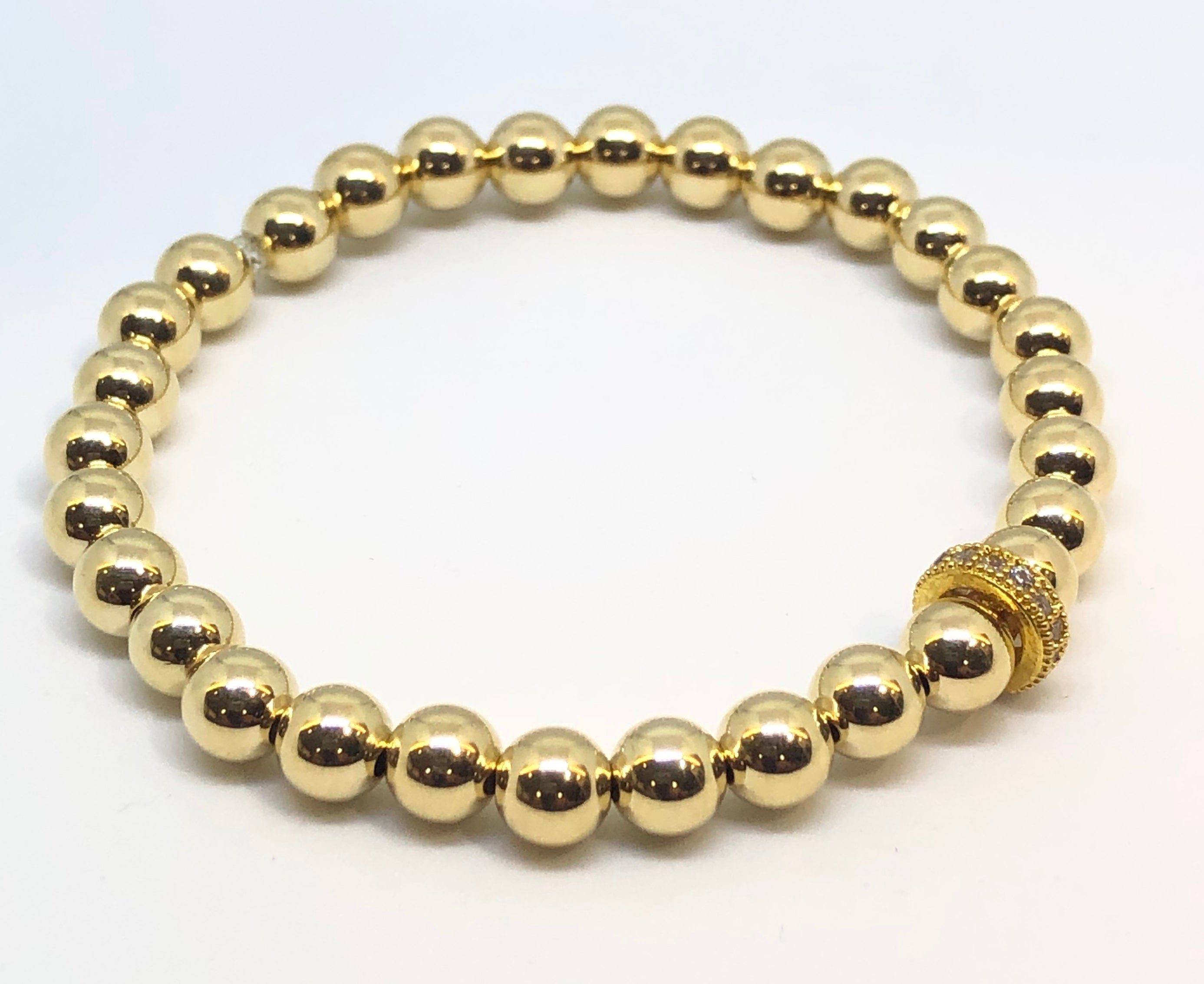 6mm 14kt Gold Filled Bead Bracelet with 10mm CZ Jeweled Wheel