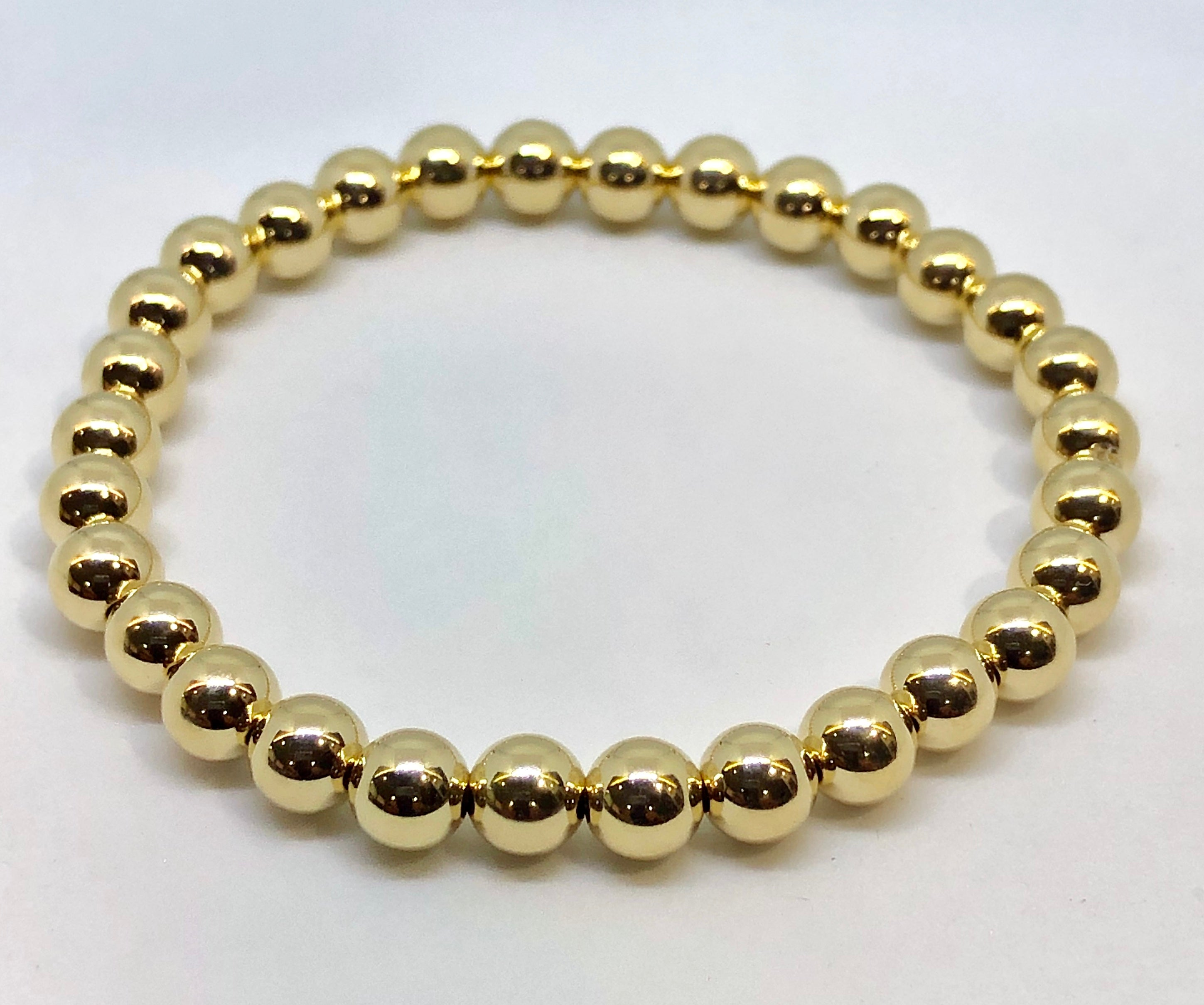 6mm 14kt Gold Filled Bead Bracelet