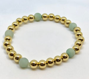 6mm 14kt Gold Filled Bead Bracelet with 5 Light Green Matte Amazonite Beads
