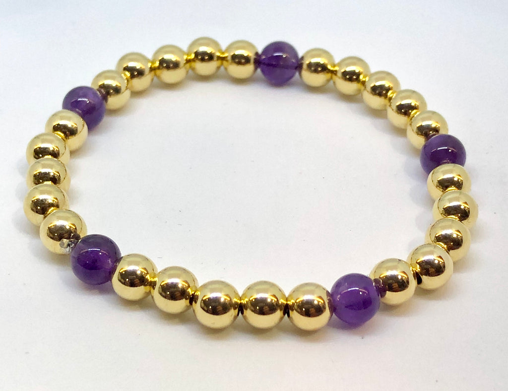 6mm 14kt Gold Filled Bead Bracelet with 5 Purple Amethyst Beads