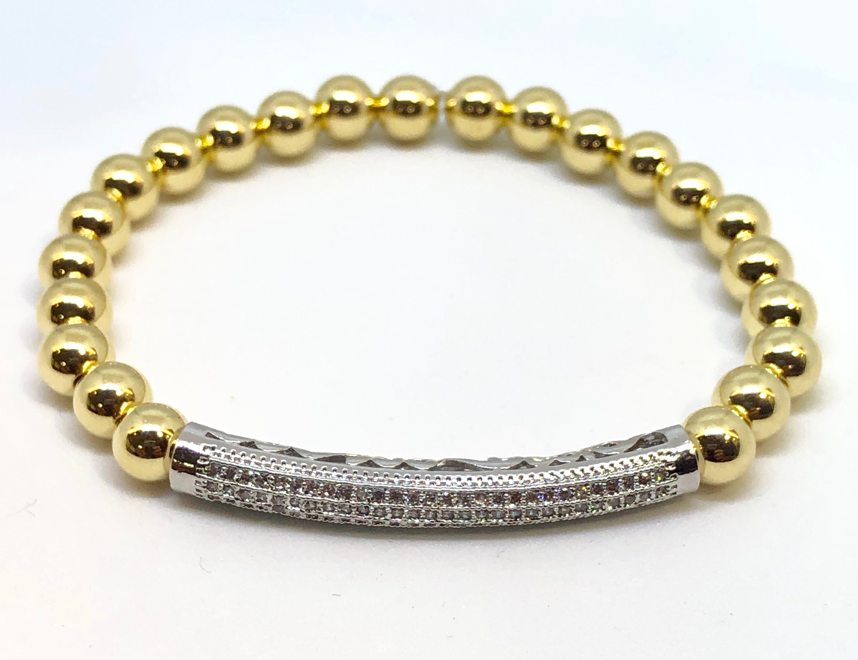 6mm 14kt Gold Filled Bead Bracelet with 6mm CZ Jeweled Silver Tube