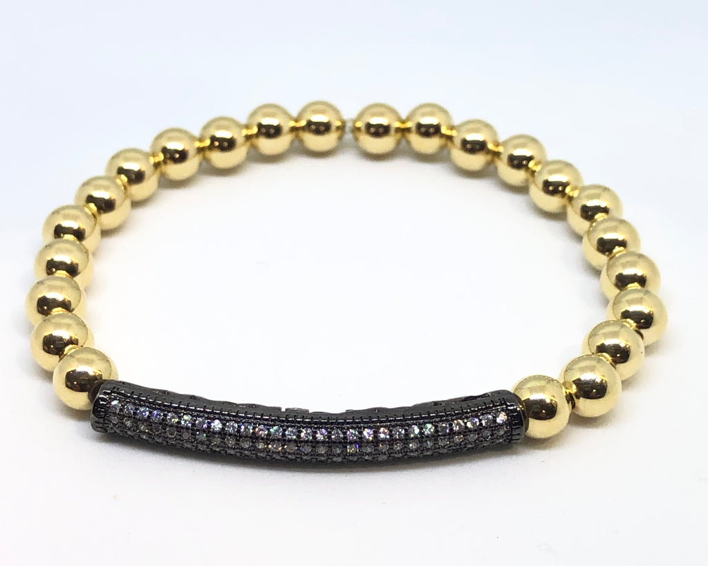 6mm 14kt Gold Filled Bead Bracelet with 6mm CZ Jeweled Black Tube