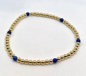 3mm 14kt Gold Filled Bead Bracelet with 6 Lapis Beads