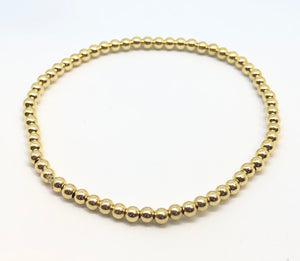 3mm 14kt Gold Filled Bead Bracelet