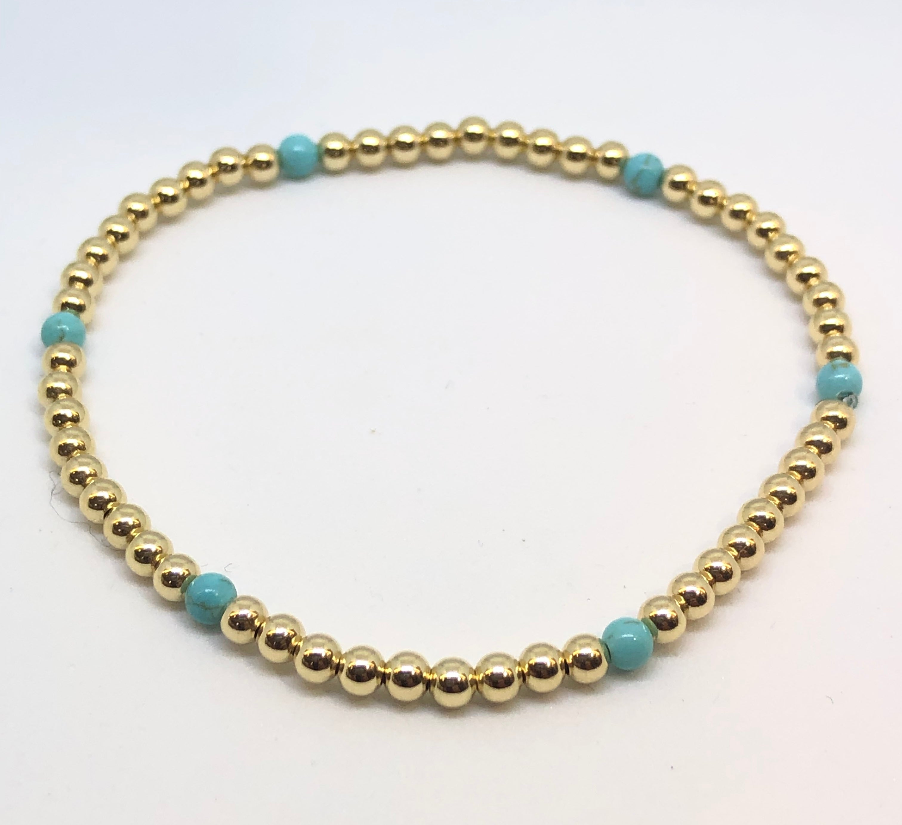 3mm 14kt Gold Filled Bead Bracelet with 6 Turquoise Beads