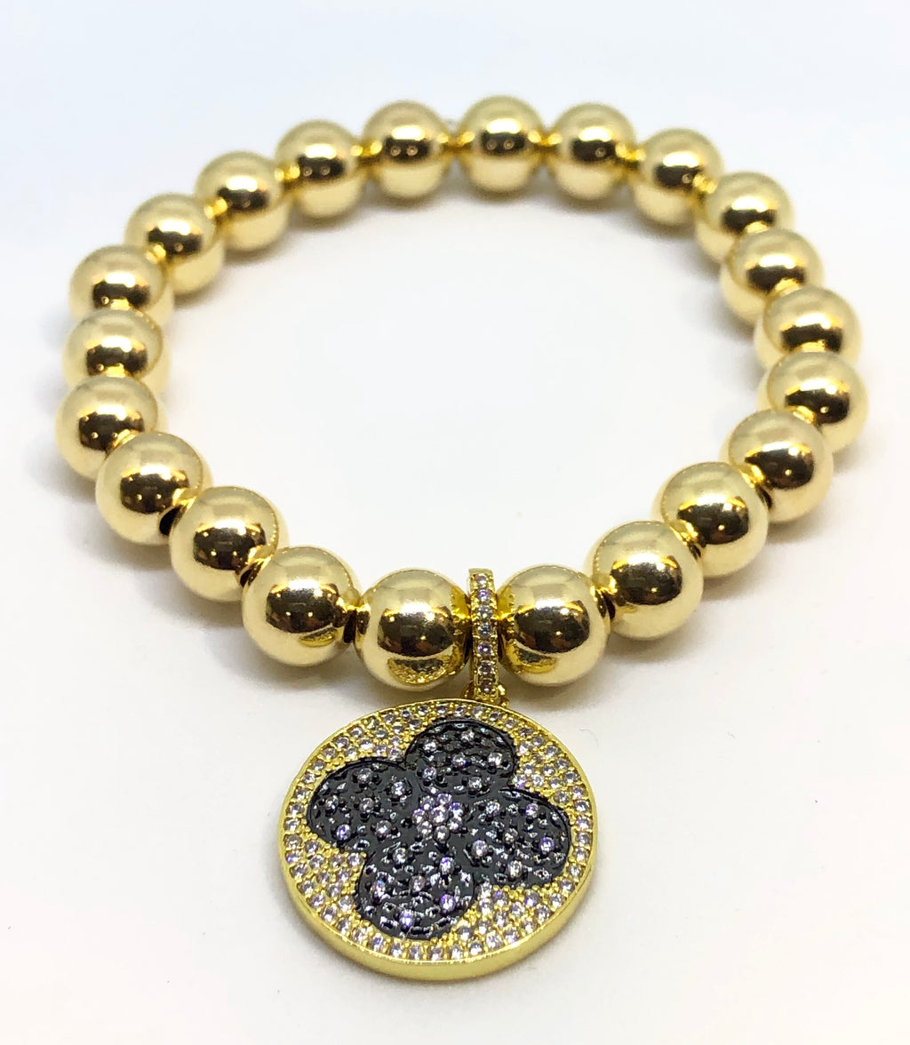 8mm 14kt Gold Filled Bead Bracelet with Black Jeweled Clover Charm
