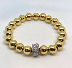 8mm 14kt Gold Filled Bead Bracelet with 10mm Sterling CZ Jeweled Wheel