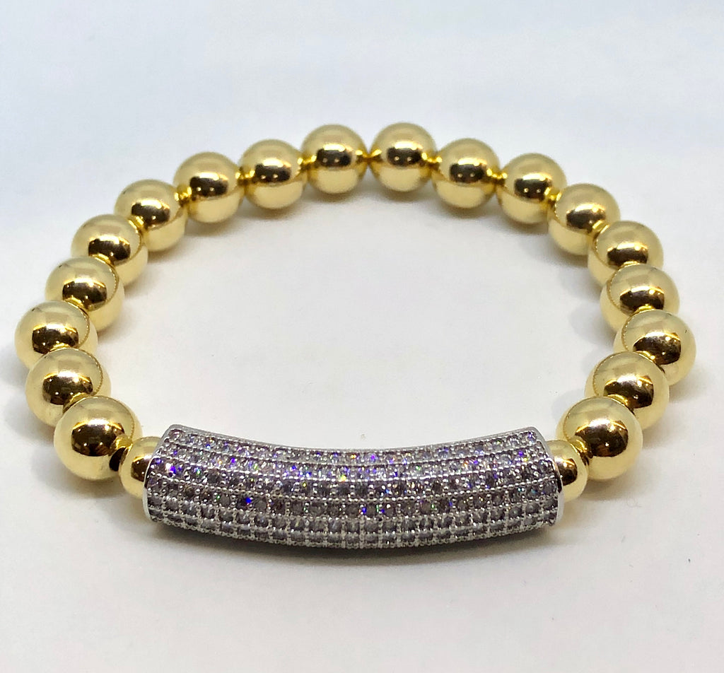 8mm 14kt Gold Filled Bead Bracelet with 8mm Sterling CZ Jeweled Bar