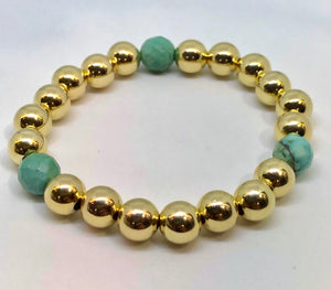 8mm 14kt Gold Filled Bead Bracelet with 3 8mm Turquoise Beads