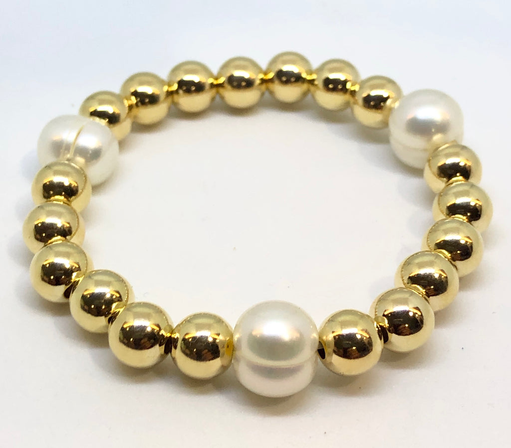 8mm 14kt Gold Filled Bead Bracelet with 3 10mm Fresh Water Pearls