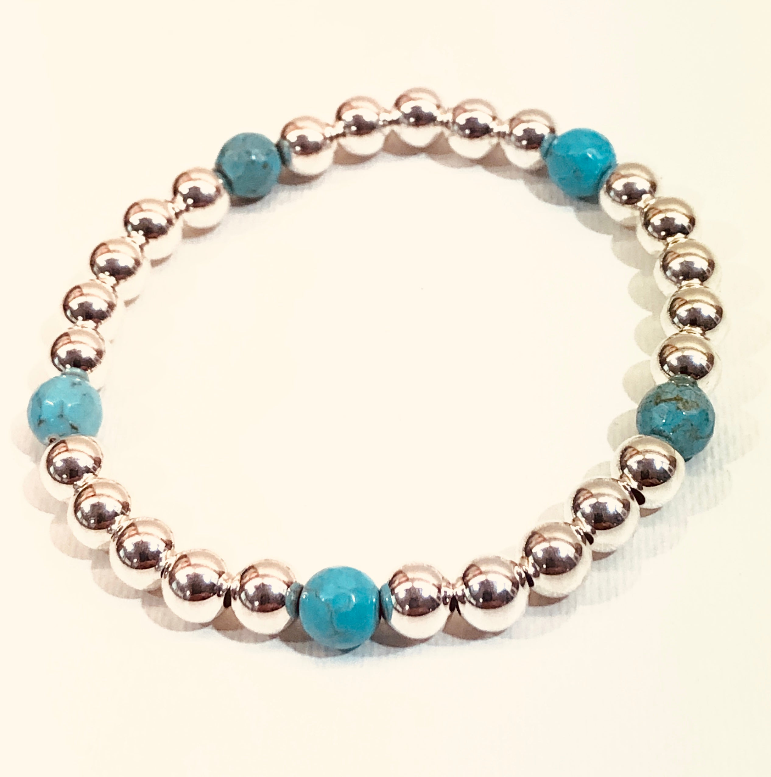 6mm Sterling Silver Bead Bracelet with 5 Turquoise Blue Beads