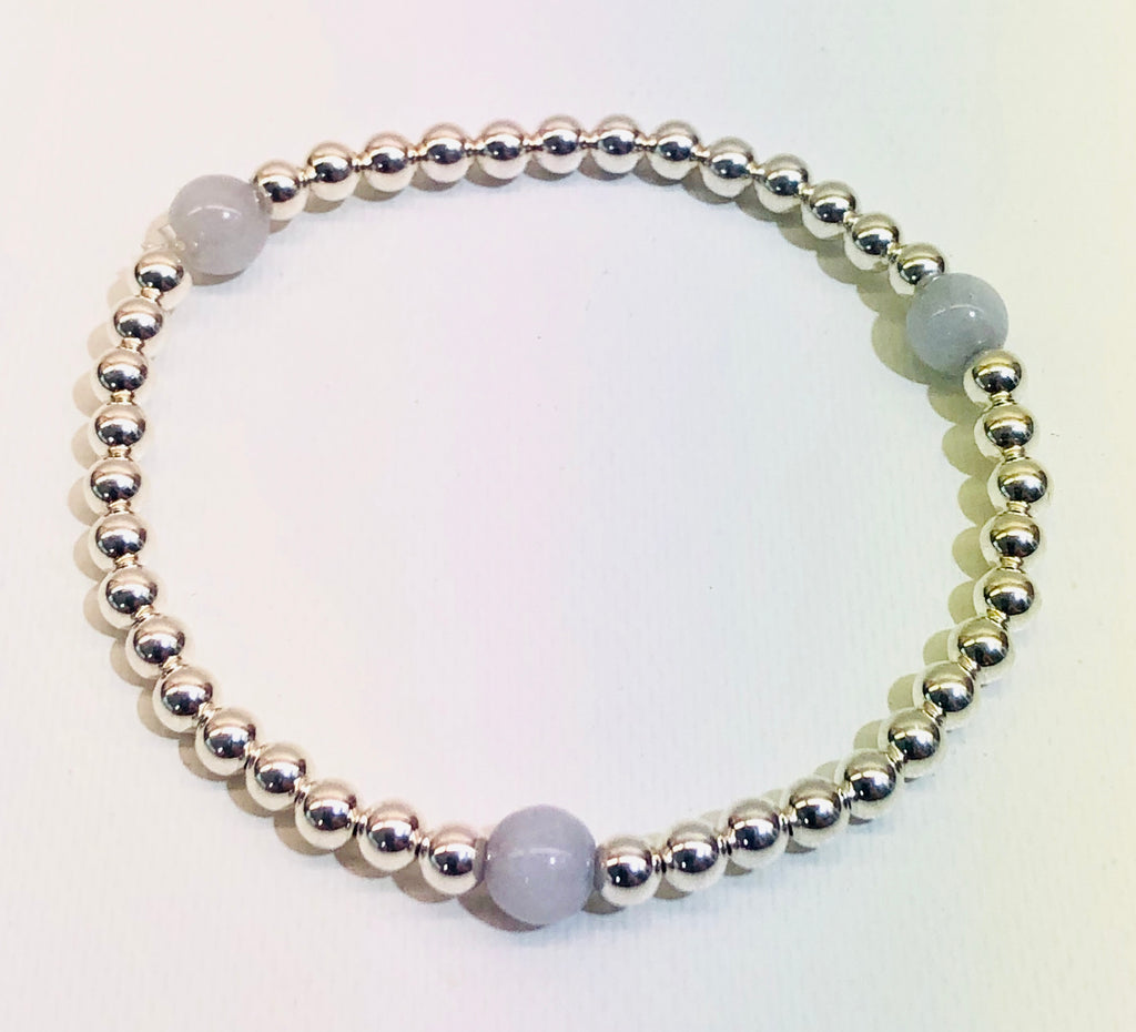 4mm Sterling Silver Bead Bracelet with 3 6mm Quartz Beads