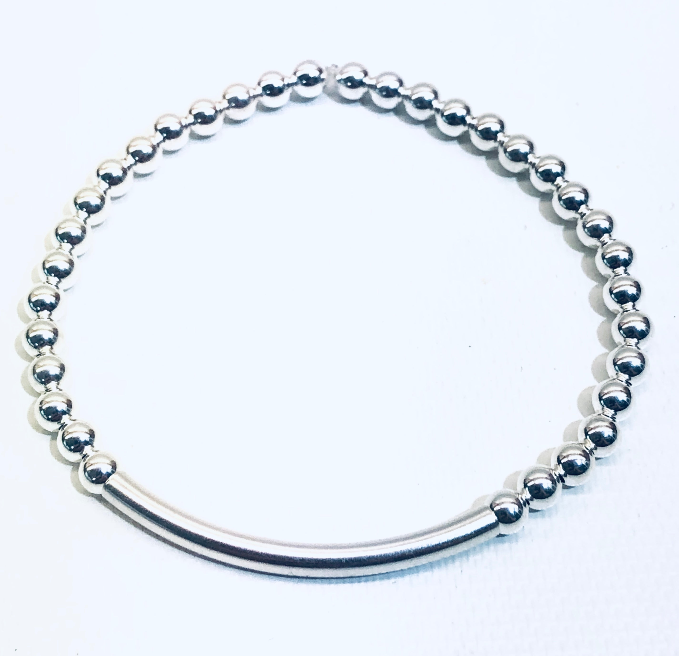 4mm Sterling Silver Bead Bracelet with 4mm Sterling Bar