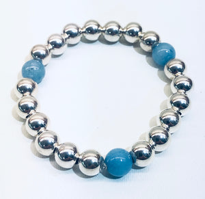 8mm Sterling Silver Bead Bracelet with 3 Blue Jade Beads